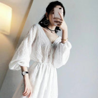 Dress Summer 2020 white S M L XL Mid length dress singleton  three quarter sleeve commute V-neck High waist Solid color other other bishop sleeve Others 18-24 years old Lattice Lace More than 95% other Other 100% Pure e-commerce (online only)