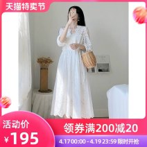 Women's large Summer 2020 White dress S m large L Large XL singleton  commute Solid color V-neck other puff sleeve Lattice 96% and above longuette Other 100% Pure e-commerce (online only)