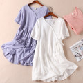 Dress Summer 2021 Pink, blue, white Average size Middle-skirt singleton  Short sleeve commute V-neck Loose waist Solid color Socket Ruffle Skirt bishop sleeve Type A Other / other literature Fold, lace up More than 95% cotton