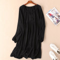 Dress Spring of 2019 black M,L,XL,2XL Mid length dress singleton  Long sleeves commute V-neck Loose waist Solid color Socket Ruffle Skirt routine Type H Other / other Simplicity Frenulum More than 95% other other
