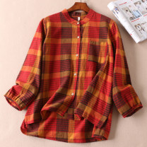 shirt Purplish red, red yellow, caramel, coffee stripe, dark grey stripe Average size Spring 2021 hemp 51% (inclusive) - 70% (inclusive) Long sleeves commute Regular stand collar Single row multi button bishop sleeve lattice Straight cylinder Other / other literature Button, pocket, asymmetry
