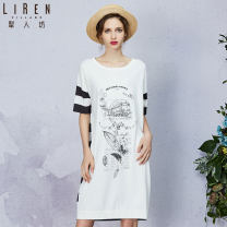 Dress Spring of 2019 14 Ivory S M L XL Mid length dress singleton  Short sleeve commute Crew neck middle-waisted Socket routine 30-34 years old Type H Li Ren Village / Li Ren Fang Simplicity printing 51% (inclusive) - 70% (inclusive) nylon Polyamide fiber (nylon) 54% viscose fiber (viscose) 46%