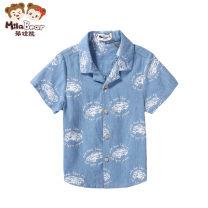 shirt Denim light blue Mira bear male 80cm 90cm 100cm 110cm 120cm summer Short sleeve Cartoon animation Pure cotton (100% cotton content) Lapel and pointed collar Cotton 100% 0923014B