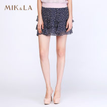 skirt Summer 2016 S M L XL Blue and white dots Short skirt Versatile Natural waist A-line skirt Dot 25-29 years old More than 95% other MIK&LA silk Mulberry silk 100%