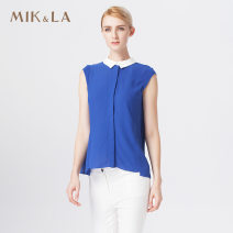 shirt Royal Blue M L XL XXL Summer 2015 other 96% and above Short sleeve commute Regular Doll Collar Single row multi button routine Solid color 30-34 years old Self cultivation MIK&LA lady 942AC366 New polyester fiber 100%