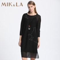 Dress Spring of 2018 Black / H98 S M L XL XXL Mid length dress singleton  Nine point sleeve commute Crew neck Loose waist Animal design Socket other routine Others 35-39 years old Type H MIK&LA Britain Embroidery 981CL213 More than 95% other Other 100%