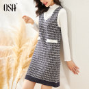 Dress Winter 2020 dark blue S,M,L,XL Middle-skirt Two piece set Long sleeves commute V-neck High waist lattice Socket other other straps 25-29 years old Type A OSA Ol style Resin fixation ZS120D15007 31% (inclusive) - 50% (inclusive) knitting acrylic fibres