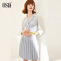 Dress Summer 2020 Ash blue S,M,L,XL Short skirt singleton  three quarter sleeve commute tailored collar Solid color double-breasted 25-29 years old OSA S120QB13007 polyester fiber