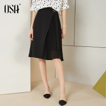 skirt Summer of 2019 S,M,L,XL black Middle-skirt commute High waist A-line skirt Solid color Type A 25-29 years old S119QB51026 other OSA other Fold, asymmetric Ol style