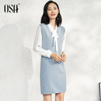 Dress Autumn 2020 Light blue S,M,L,XL Middle-skirt Two piece set Long sleeves commute other High waist Socket other other straps 25-29 years old Type H OSA lady Resin fixation S120QC15004 other