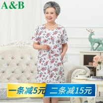 Middle aged and old women's wear Spring 2021 Fengyuhua, Hongju, Yingchun L XL XXL XXXL 4XL Home Dress easy Big flower Over 60 years old Socket Crew neck Medium length routine AB-H358-A A&B pocket pure cotton Cotton 100% 96% and above Same model in shopping mall (sold online and offline) Medium length