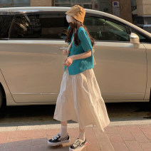 skirt Summer 2021 Average size Blue jacket and white skirt Mid length dress commute High waist A-line skirt Solid color Type A 18-24 years old Korean version