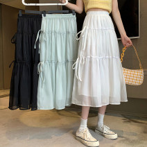 skirt Summer 2021 Average size White, blue, black Mid length dress commute High waist A-line skirt Solid color Type A 18-24 years old 30% and below other other Frenulum Korean version