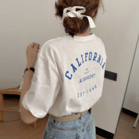 T-shirt white Average size Spring 2021 Short sleeve Crew neck easy Regular routine commute cotton 96% and above 18-24 years old Korean version youth letter printing