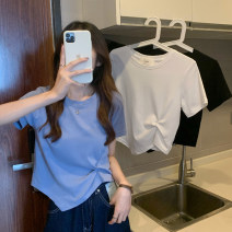 T-shirt Light blue, white, black Average size Summer 2021 Short sleeve Crew neck Self cultivation have cash less than that is registered in the accounts routine commute other 30% and below 18-24 years old Korean version youth Asymmetry