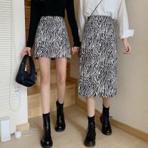 skirt Spring 2021 S,M,L Zebra long, zebra short Mid length dress commute High waist A-line skirt Zebra pattern Type A 18-24 years old zipper Korean version
