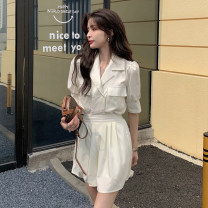 shirt Apricot shirt, light blue shirt, apricot shorts, light blue shorts S, M Summer 2021 other 30% and below Short sleeve commute Regular tailored collar Single row multi button puff sleeve Solid color 18-24 years old Straight cylinder Korean version Pocket, button