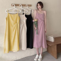 Dress Summer 2021 Apricot, pink, yellow, black Average size Mid length dress singleton  Sleeveless commute other Loose waist Solid color Socket Irregular skirt routine camisole 18-24 years old Type H Korean version backless 30% and below other other
