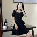 Dress Summer 2021 Short skirt, long skirt S, M Short skirt singleton  Short sleeve commute square neck High waist Solid color Socket A-line skirt puff sleeve Others 18-24 years old Type A Korean version Bow, tie, zipper 30% and below other other