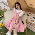 Dress Summer 2021 Peach pink skirt piece, black skirt piece, white shirt piece S. M, average size Short skirt singleton  Sleeveless commute other High waist Solid color Socket A-line skirt other straps 18-24 years old Type A Korean version fold 30% and below other other