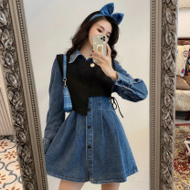 Dress Spring 2021 M. L, average size Short skirt singleton  Long sleeves commute Polo collar High waist Solid color Single breasted A-line skirt routine Others 18-24 years old Type A Korean version