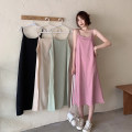 Dress Spring 2021 Apricot, light green, pink, black Average size Mid length dress singleton  Sleeveless commute other Loose waist Solid color Socket A-line skirt camisole 18-24 years old Type A Korean version A3118