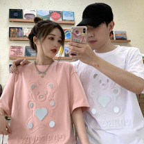 T-shirt White, pink M, l Summer 2021 Short sleeve Crew neck easy Medium length routine commute cotton 30% and below 18-24 years old Korean version youth