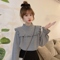Sweater / sweater Spring 2021 Grey, white, apricot Average size Long sleeves routine Socket singleton  routine stand collar easy commute other Solid color 18-24 years old Korean version fungus