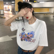T-shirt White cloud bus bear T, black cloud bus bear t Average size Summer 2021 Short sleeve Crew neck easy Regular routine commute other 30% and below 18-24 years old Korean version youth Cartoon, animation, letters printing