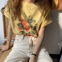 T-shirt White, yellow, flower grey Average size Summer 2021 Short sleeve Crew neck easy Regular routine commute other 30% and below 18-24 years old Korean version youth Plants, flowers, letters printing