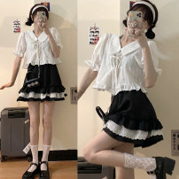 Fashion suit Summer 2021 Average size White shirt, black skirt 18-25 years old 30% and below