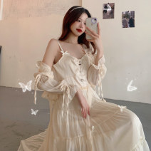 Dress Summer 2021 One piece sunscreen shirt , One piece dress S. M, l, average size Mid length dress singleton  Sleeveless commute V-neck High waist Solid color Socket A-line skirt other camisole 18-24 years old Type A Korean version Gauze 30% and below other other