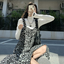 Dress Spring 2021 Average size, s, M Mid length dress singleton  Sleeveless commute other High waist Leopard Print Socket A-line skirt camisole 18-24 years old Type A Korean version