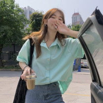 shirt White, pink, green, blue, yellow Average size Summer 2021 other 30% and below Short sleeve commute Regular Polo collar Single row multi button routine Solid color 18-24 years old Straight cylinder Korean version Button