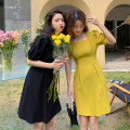 Dress Summer 2021 Yellow, black S (80-100kg), m (100-120kg) Middle-skirt singleton  Short sleeve commute square neck High waist Solid color Socket A-line skirt puff sleeve Others 18-24 years old Type A Korean version fold 30% and below other other