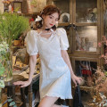 Dress Summer of 2019 White, black S, M Short skirt singleton  Short sleeve commute other middle-waisted Solid color Socket A-line skirt puff sleeve 18-24 years old Type A Korean version