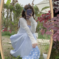 Dress Summer 2021 White suspender skirt piece, blue suspender skirt piece, white sunscreen piece, bean green sunscreen piece Average size Mid length dress singleton  Sleeveless commute High waist Solid color Socket camisole 18-24 years old Type A Korean version