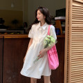 Dress Summer 2021 White, blue S, M Mid length dress singleton  Short sleeve commute Polo collar High waist Solid color Single breasted A-line skirt puff sleeve Others 18-24 years old Type A Korean version Button 30% and below