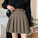 skirt Spring 2021 S,M,L Black, brown Short skirt commute High waist Pleated skirt Solid color Type A 18-24 years old fold Korean version