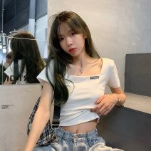 T-shirt Gray, white, black Average size Summer 2021 Short sleeve Crew neck Self cultivation have cash less than that is registered in the accounts routine commute other 30% and below 18-24 years old Korean version youth letter Sticking cloth