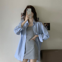 Dress Summer 2021 Single stripe shirt, single dress Average size Short skirt Two piece set Sleeveless commute High waist Solid color other A-line skirt camisole 18-24 years old Type A Korean version