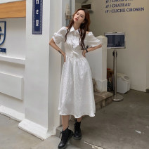 Dress Summer 2021 white S, M longuette singleton  Short sleeve commute Polo collar High waist Solid color Single breasted A-line skirt puff sleeve 18-24 years old Type A Korean version Lace up, button 30% and below other