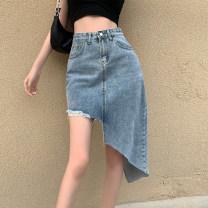skirt Summer 2021 S,M,L blue Mid length dress commute High waist Irregular Solid color Type A 18-24 years old Korean version