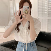 shirt shirt Average size Summer 2021 other 51% (inclusive) - 70% (inclusive) Short sleeve commute Regular Doll Collar other other Solid color 18-24 years old Straight cylinder Korean version