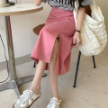 skirt Summer 2021 S,M,L Red, blue, black, pink Mid length dress commute High waist A-line skirt Solid color Type A 18-24 years old Korean version