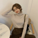 T-shirt White, black, coffee, milk tea Average size Spring 2021 Long sleeves High collar Self cultivation Regular routine commute cotton 96% and above 18-24 years old Korean version youth Solid color