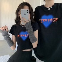 T-shirt Black short, black long Average size Summer 2021 Short sleeve Crew neck Self cultivation have cash less than that is registered in the accounts routine commute other 30% and below 18-24 years old Korean version