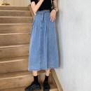 skirt Summer 2021 S,M,L Light blue, dark blue Mid length dress commute High waist A-line skirt Solid color Type A 18-24 years old Korean version