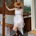 Dress Summer 2021 white Average size Mid length dress singleton  Sleeveless commute V-neck High waist Solid color A-line skirt camisole 18-24 years old Type A Korean version