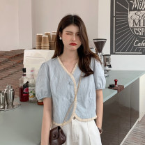 shirt White, blue Average size Summer 2021 other 30% and below Short sleeve commute Short style (40cm < length ≤ 50cm) V-neck Single row multi button routine other 18-24 years old Straight cylinder Korean version